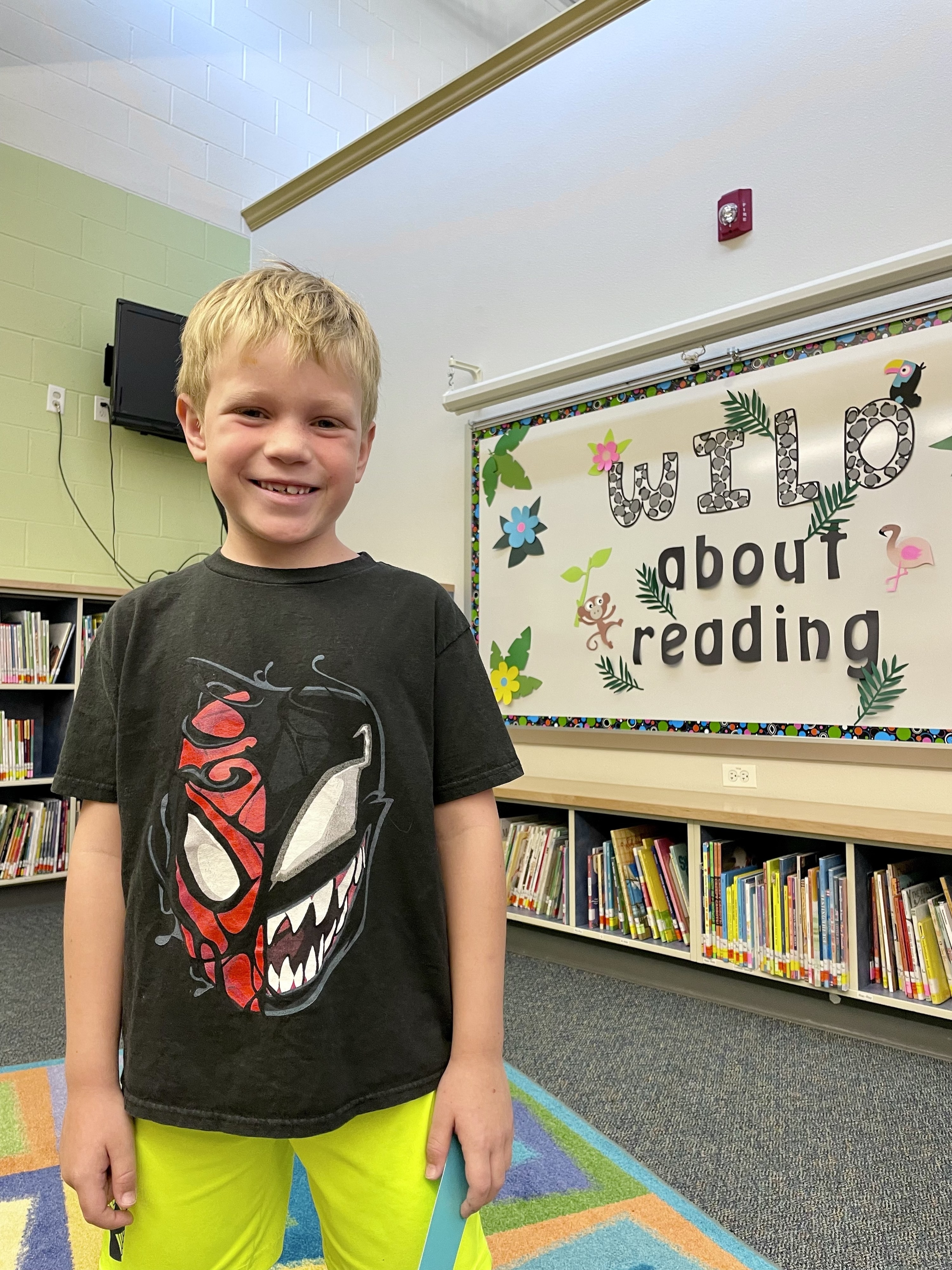 The author's son at the library