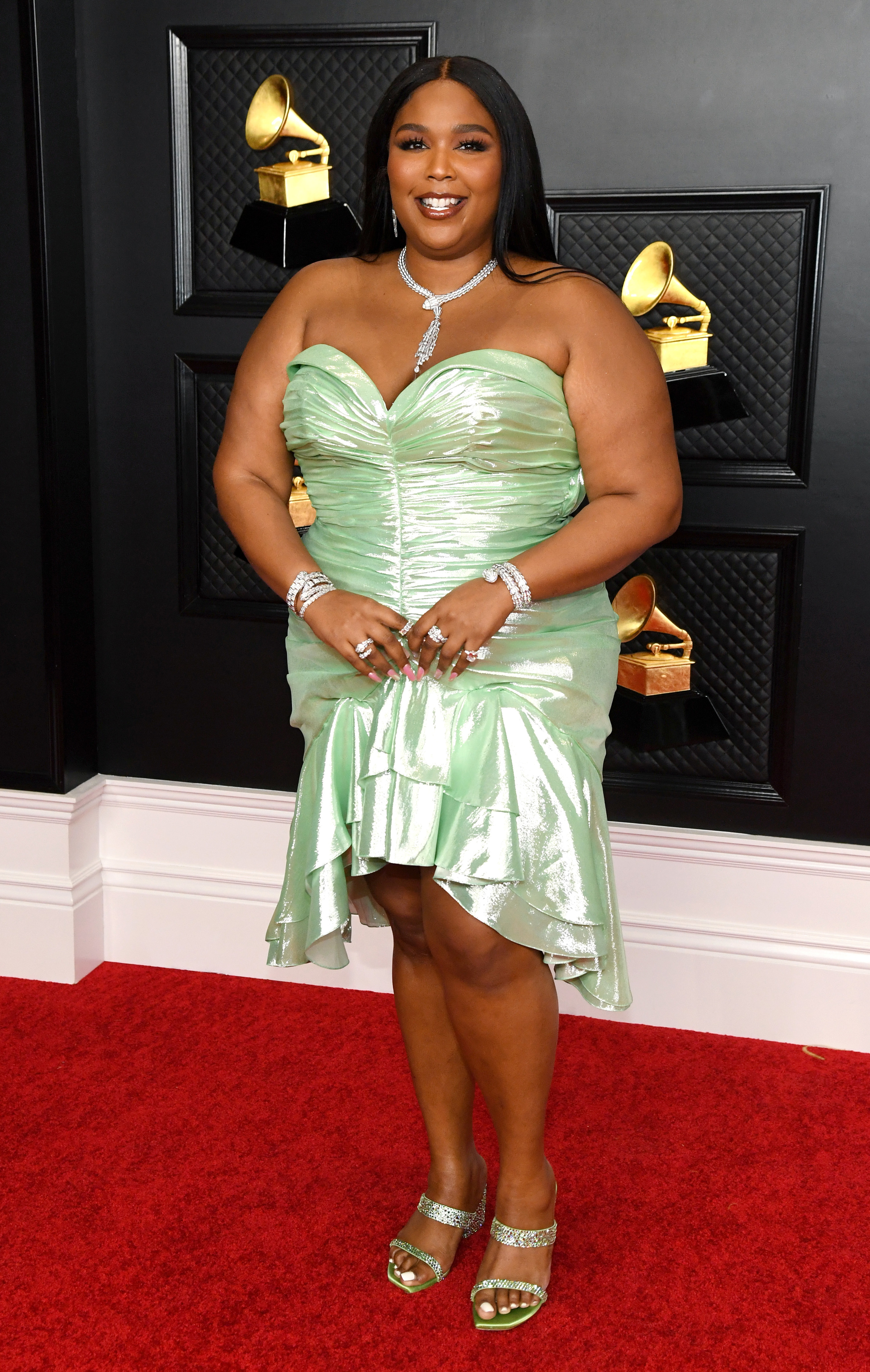 Lizzo is pictured at the Grammy Awards in 2021