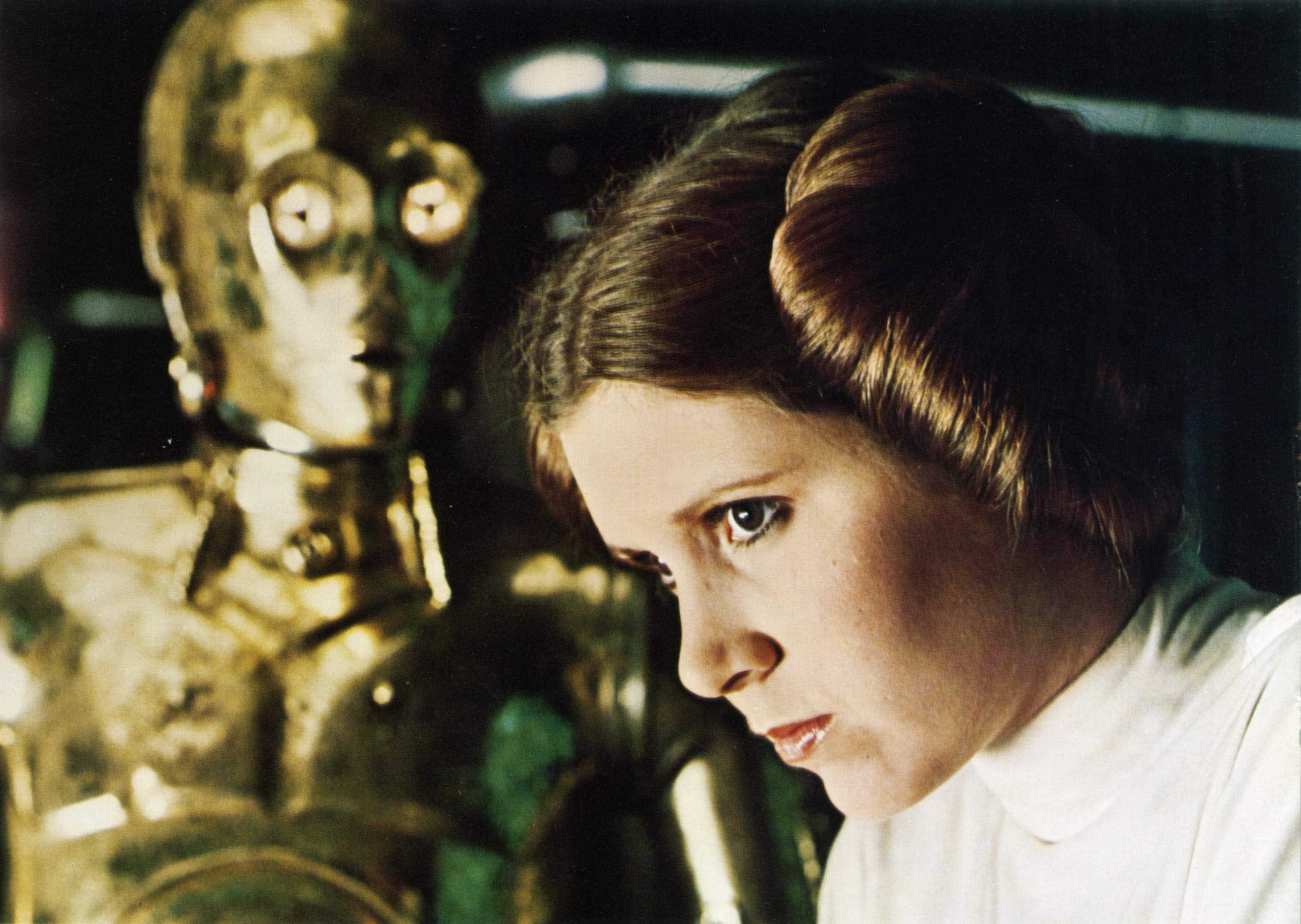 Carrie Fisher in deep thought.