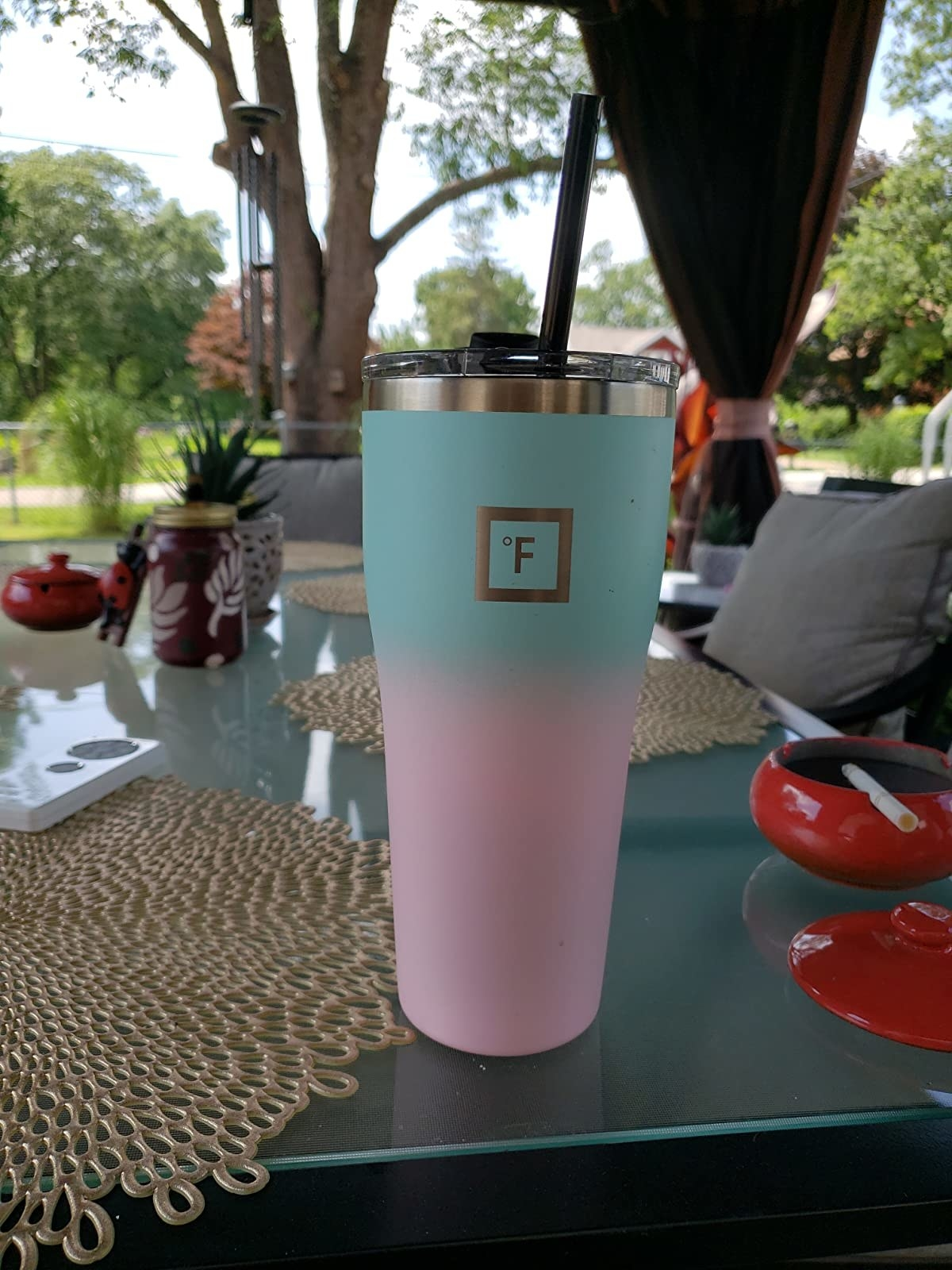 reviewer image of the bubble gum colored iron flask tumbler