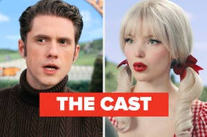 Stills from Schmigadoon show aaron tveit and dove cameron faces text reads the cast