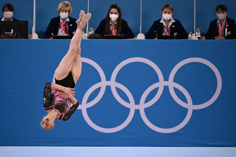 An Italian gymnast mid-air