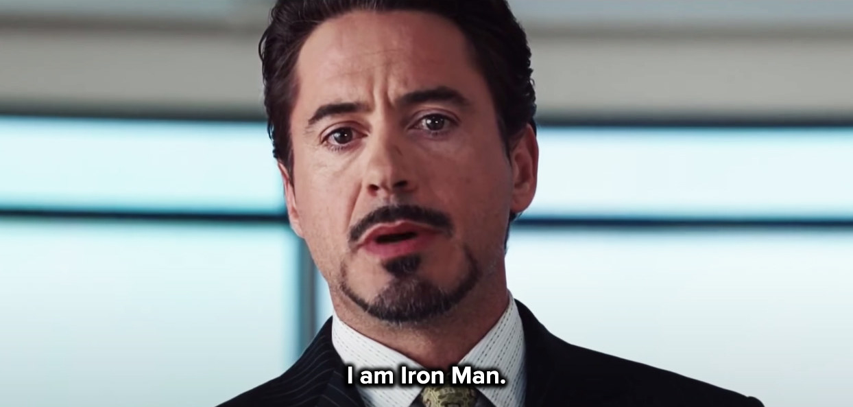 Tony reveals his identity at the press conference