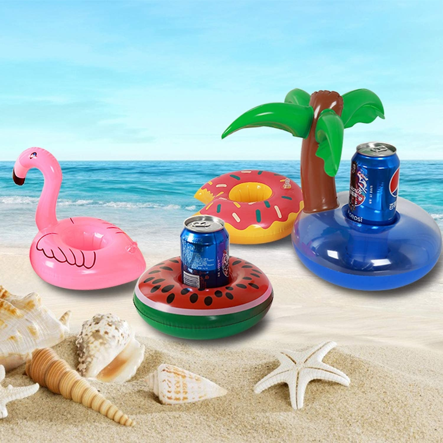 A bunch of small pool floaties with drink cans in them