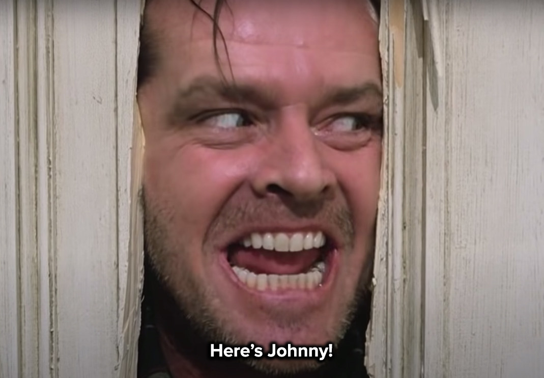 the murderer sticks his face through the door