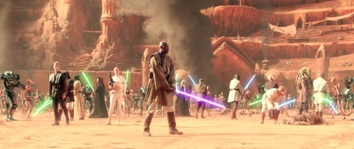 Samuel L. Jackson and a lot of other Jedi battling