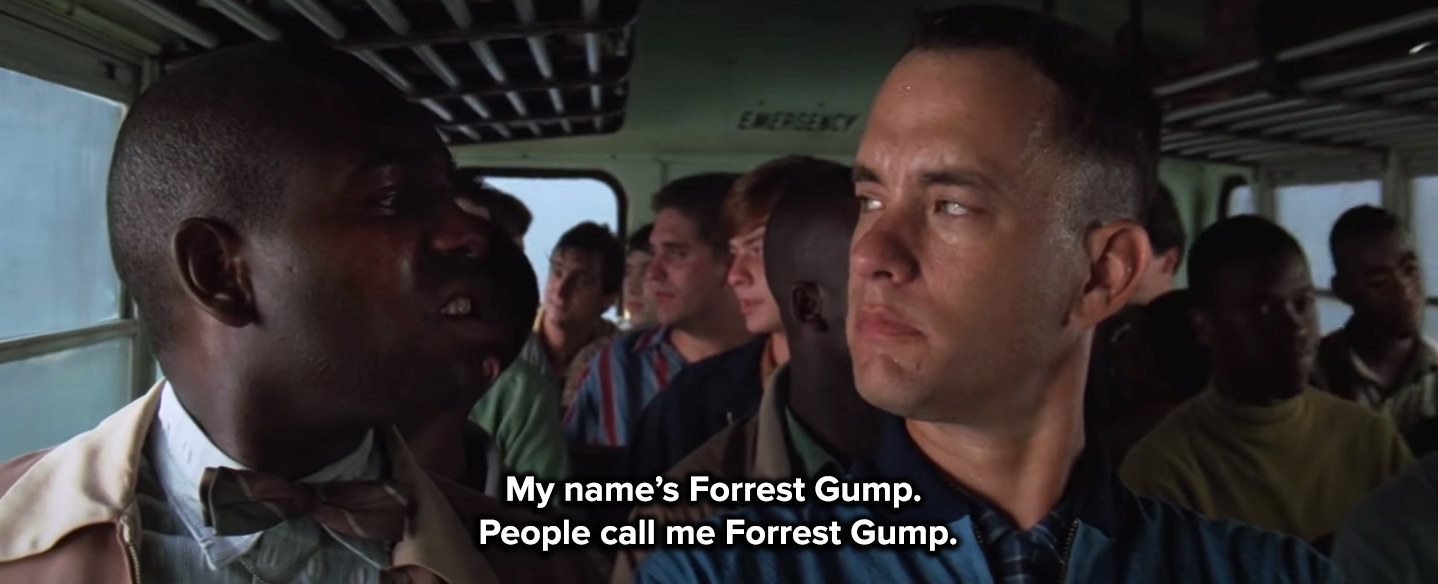 Forrest meets Bubba on the army bus