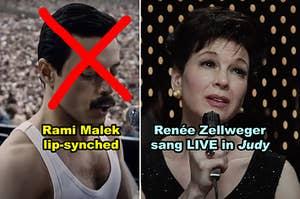 """Side-by-side of Rami Malek in """"Bohemian Rhapsody"""" and Renée Zellweger in """"Judy"""""""