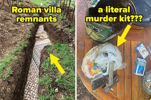 Roman villa remnants in a backyard, and a murder kit that was buried