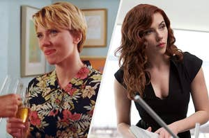 Nicole Barber cheers a champagne flute against another person's and Natasha Romanoff looks at someone off screen
