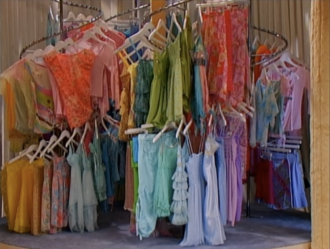 All of Miley's clothing on a giant rack