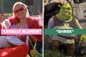 """On the left, Reese Witherspoon as Elle Woods in """"Legally Blonde,"""" and on the right, Shrek"""