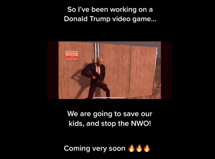"""In a video game screengrab, a Trump character holds a gun; a caption reads, """"So I've been working on a Trump video game. We are going to save our kids and stop the NWO Coming very soon"""""""