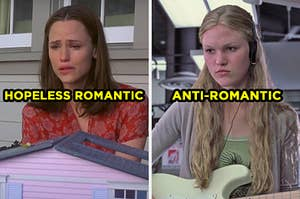 """On the left, Jennifer Garner as Jenna in """"13 Going on 30"""" labeled """"hopeless romantic,"""" and on the right, Julia Stiles as Kat in """"10 Things I Hate About You"""" labeled """"anti-romantic"""""""