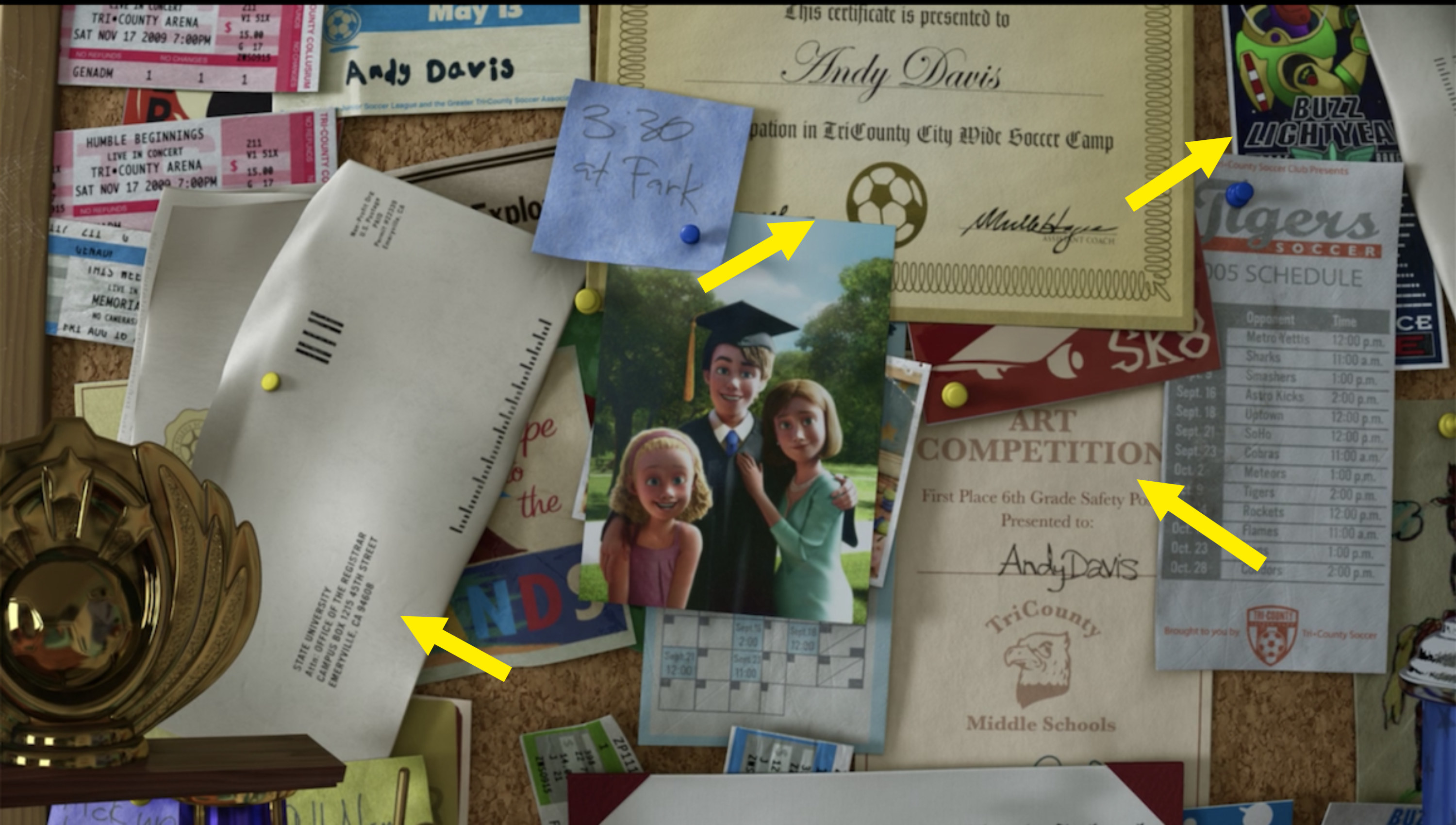 Andy's crowded bulletin board