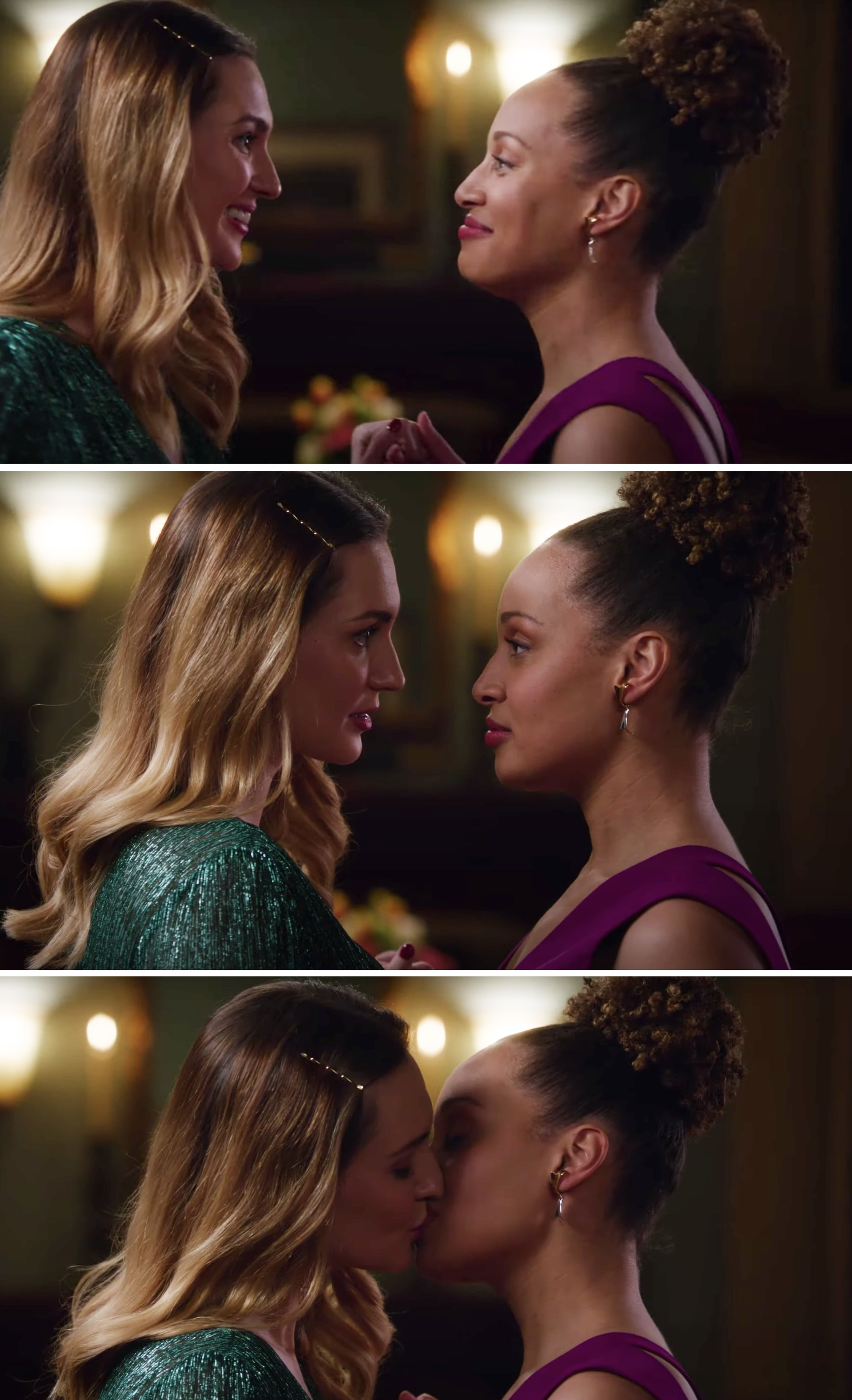 Joy and Zoey dancing and kissing