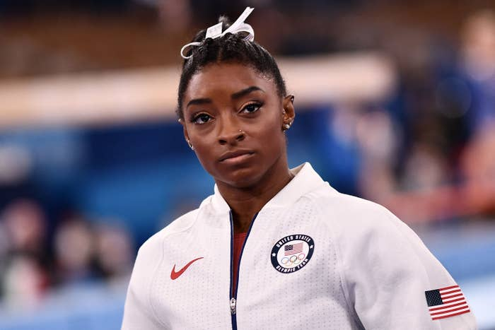 Photo of Simone Biles at the Tokyo 2020 Olympic Games