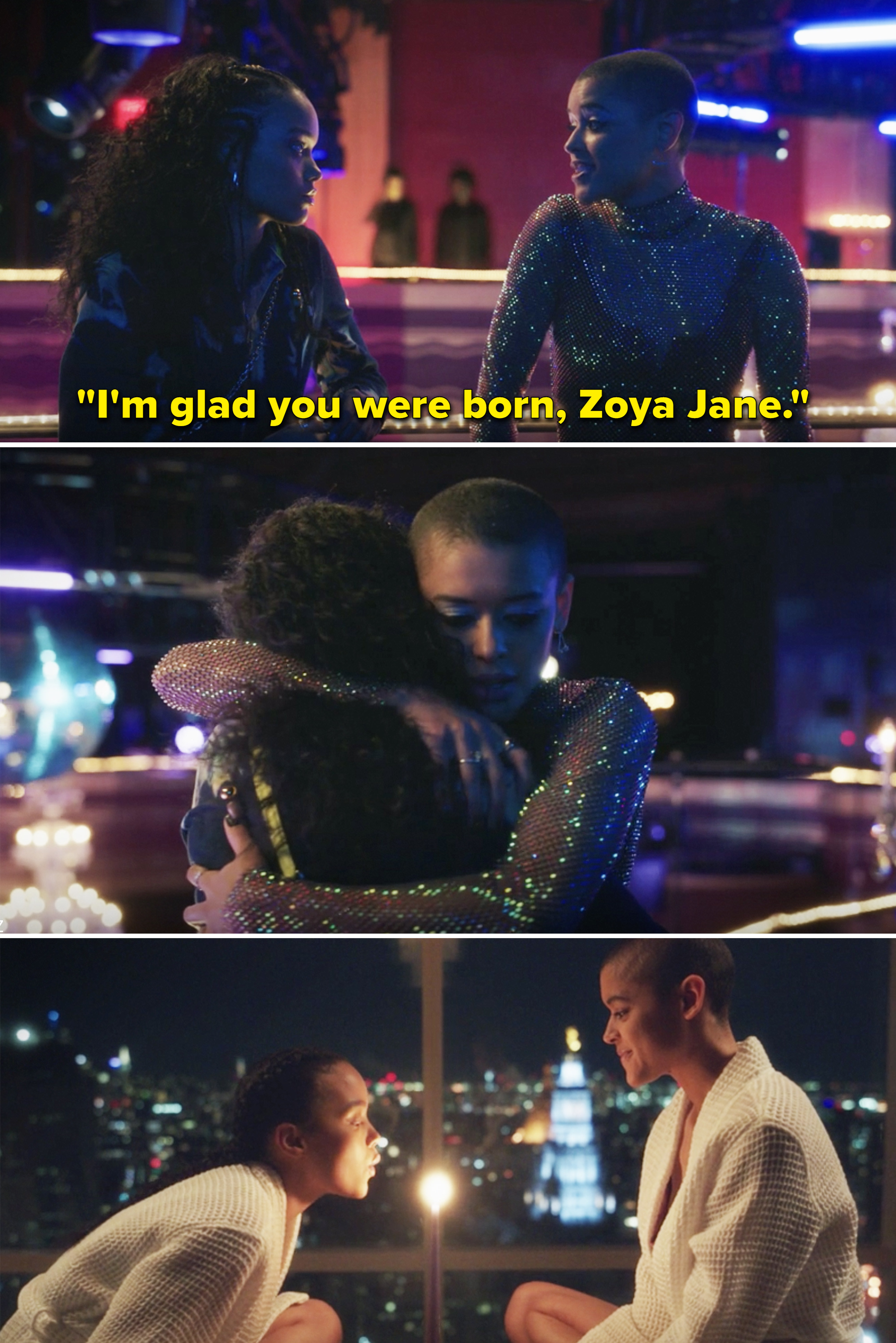 """Julien telling Zoya, """"I'm glad you were born, Zoya Jane"""" and the two of them hugging"""