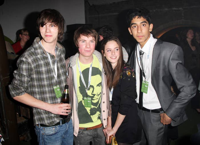 Nicholas Hoult, Joseph Dempsie, Kaya Scodelario, and Dev Patel are pictured at an event in 2008