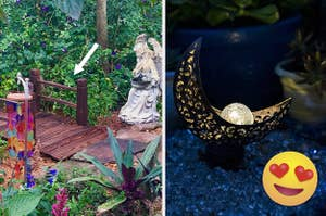 A split thumbnail of a foot bridge and a crescent moon garden stake
