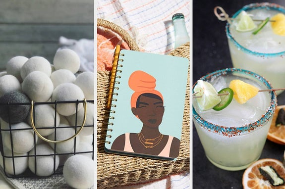 L: white and gray dryer balls M: spiral notebook R: spicy margaritas