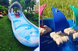 Reviewer down the shark water slide and cork boats floating in a tub