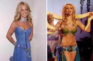 Britney spears in denim dress and holding a sname