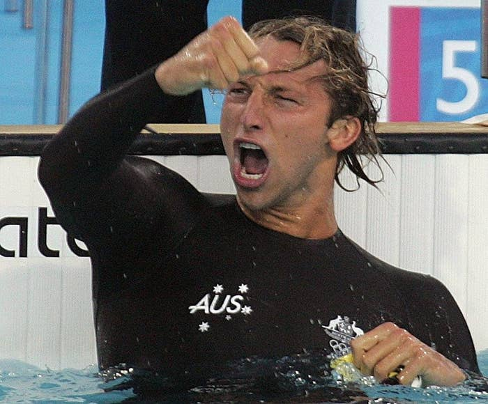Ian Thorpe celebrating his win at the 2004 Athen Games