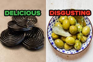 On the left, some black licorice labeled