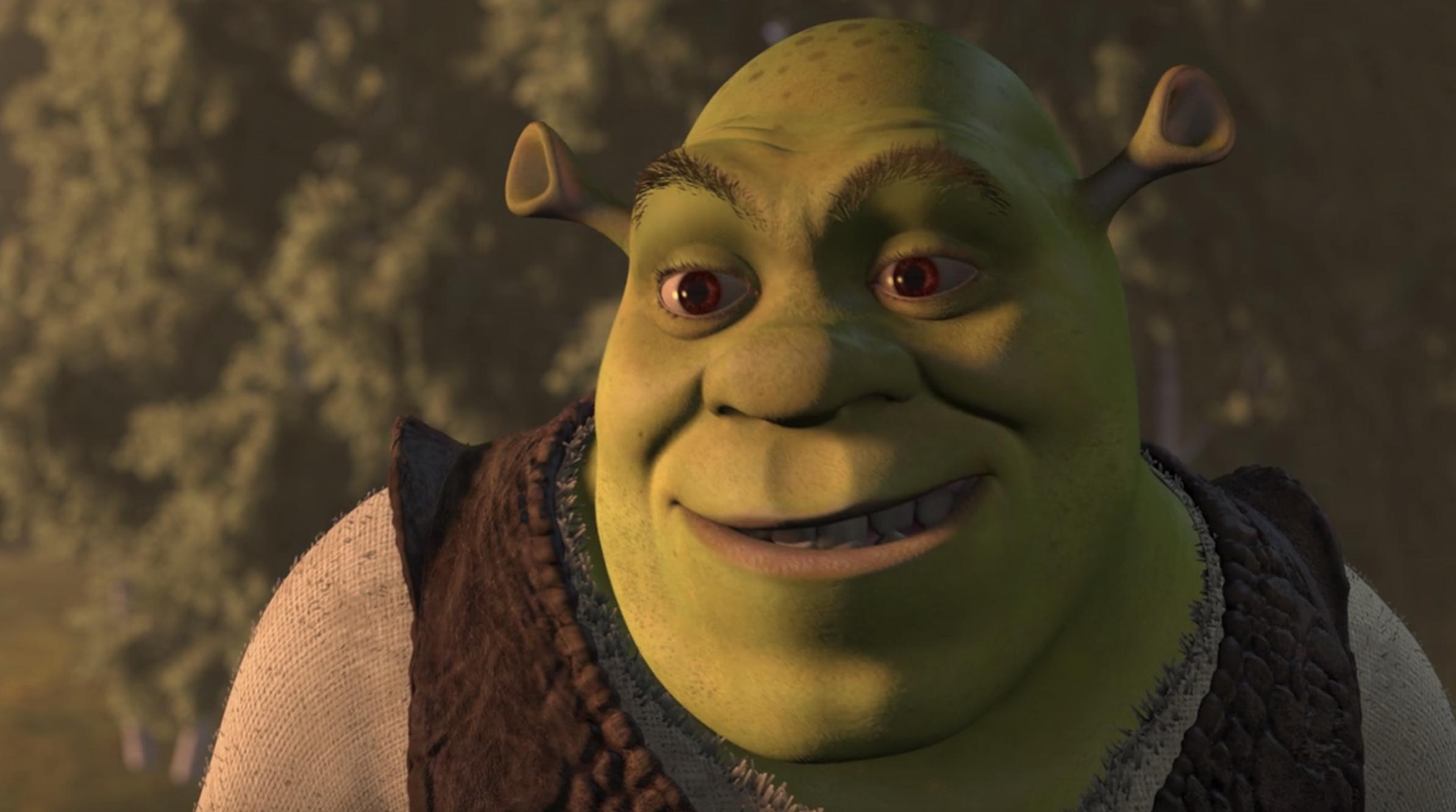 Shrek smiles a crooked smile