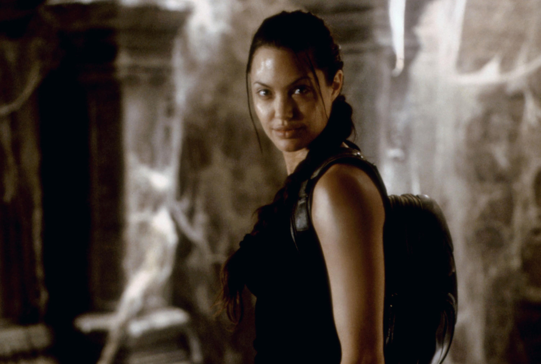 Angelina Jolie looks ahead triumphantly as Lara Croft