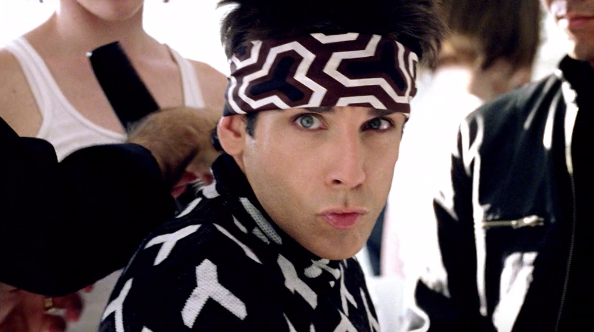 "Ben Stiller purses his lips and squints his eyes, showing off his ""blue steel"" as Derek Zoolander"