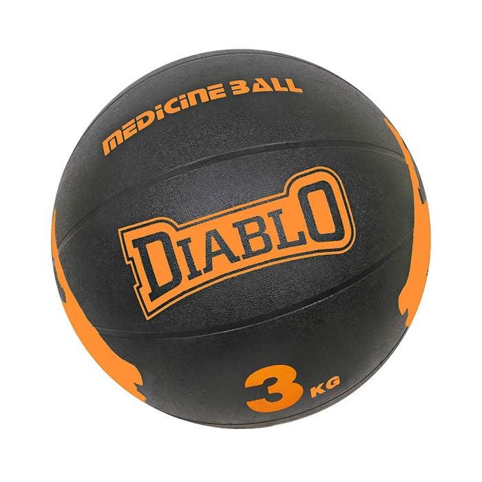 A black and orange basketball-sized 3 kg ball