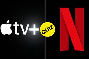 Apple TV logo is on the left with the quiz badge in the center and Netflix logo on the right
