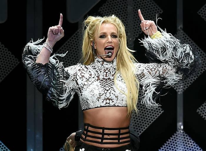 Britney performing onstage