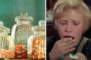Old-fashioned candy is on the left with Charlie eating a candy bar on the right