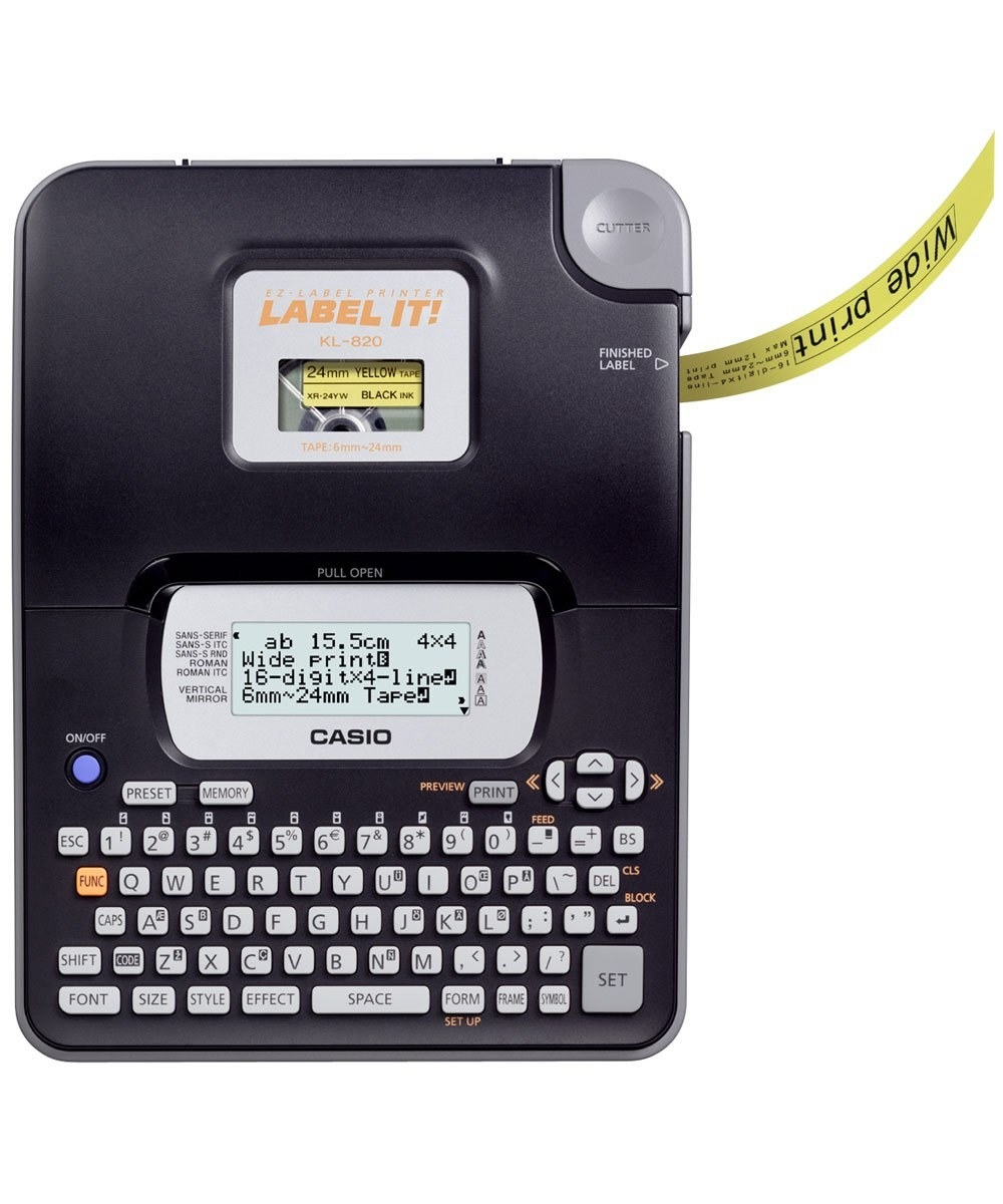 Black casio label maker with a QWERTY keypad and a yellow label printing out of it.