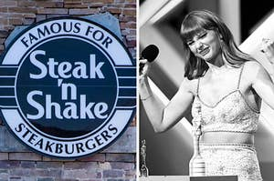 A Steak N Shake logo is on the left with Taylor Swift on the right holding up her fists