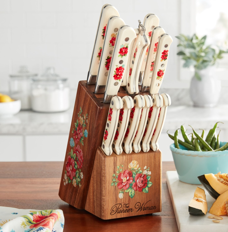 the floral knife set in a block holder