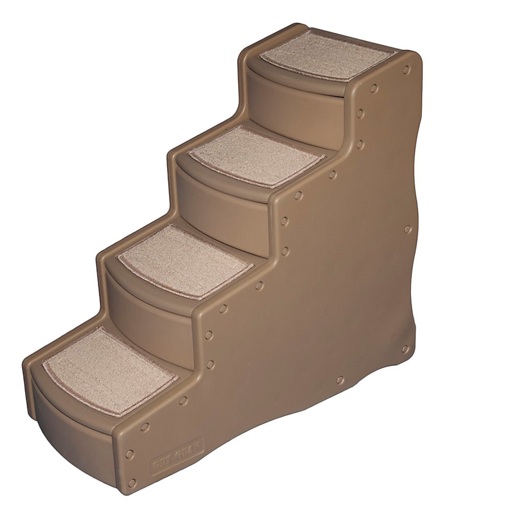 The tan four-step pet staircase