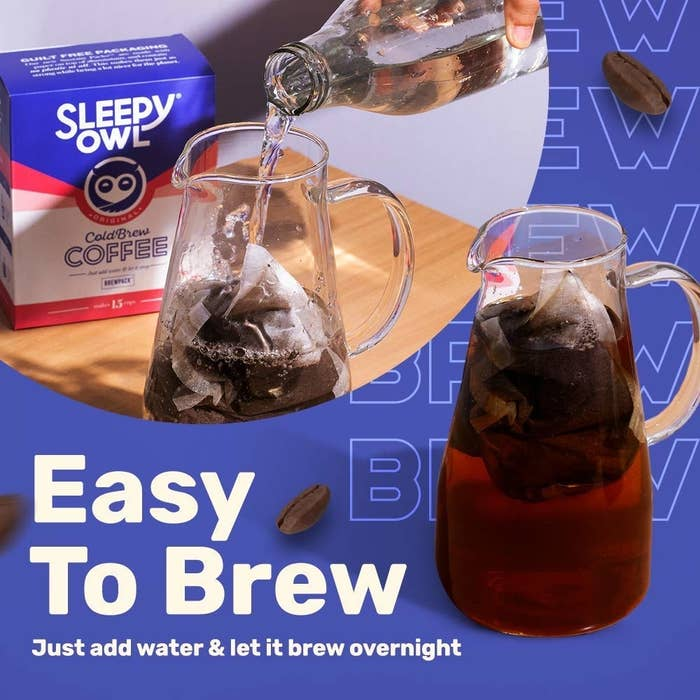 A set of brew bags in water next to the box of the coffee bags, and a jug with already made cold brew.