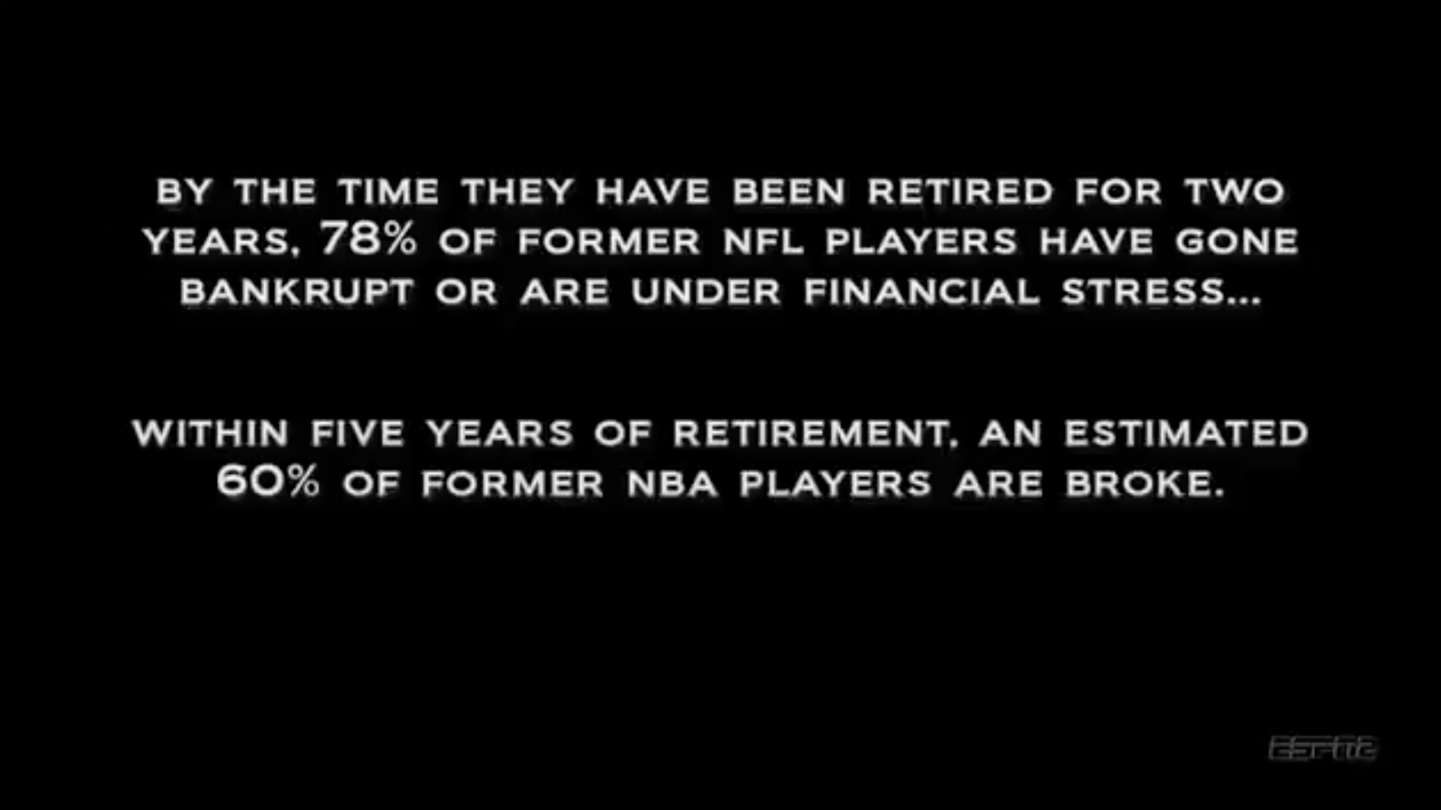 Within two years of retirement, 78% of former NFL players have gone bankrupt or are under financial stress. Within five years of retirement, and estimated 60% of former NBA players are broke