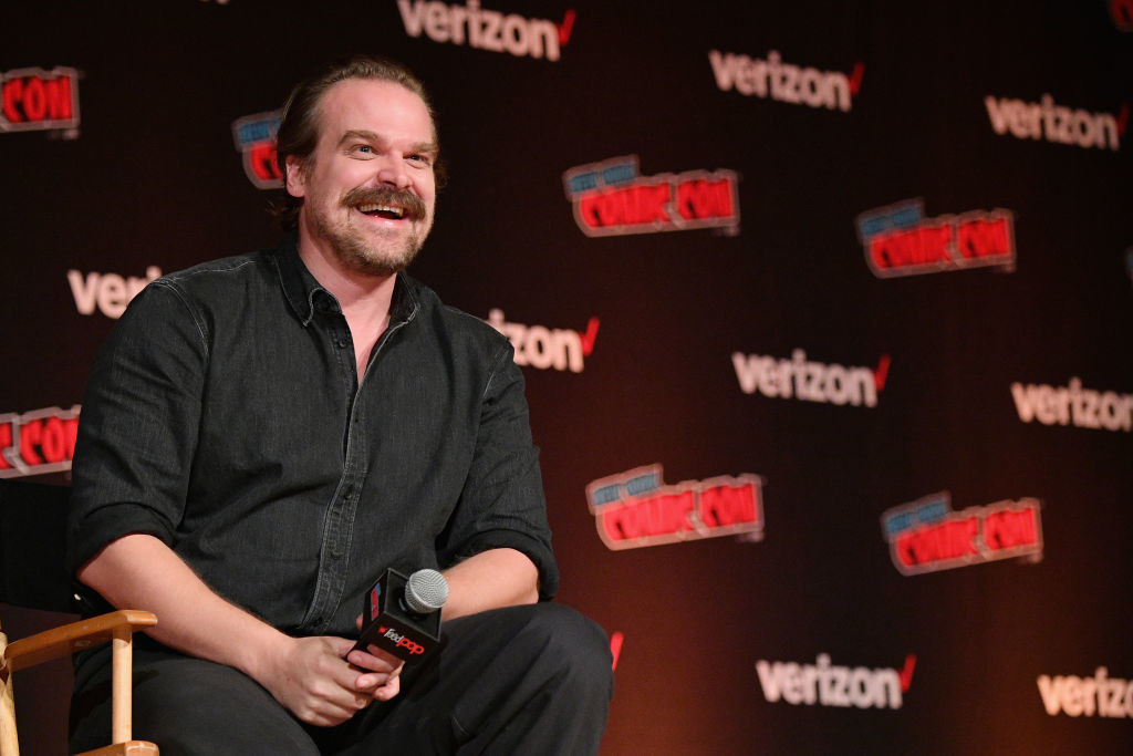 David Harbour speaks onstage during the Hellboy panel during New York Comic Con