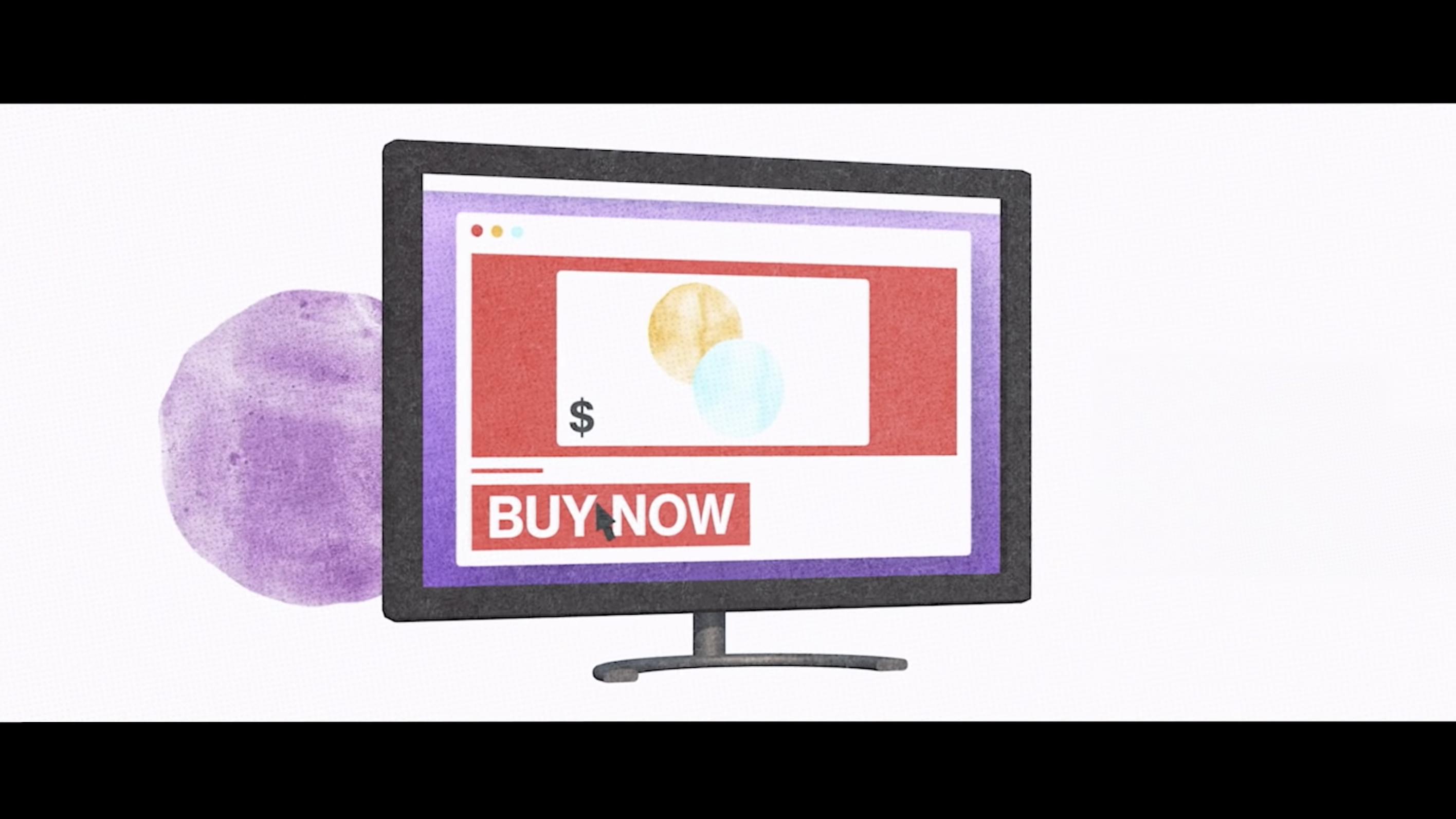 Computer screen with a pop up that says buy now