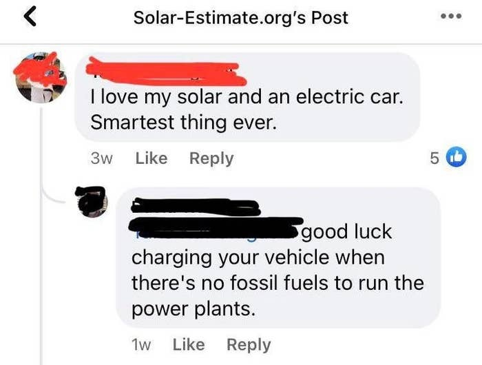 person who says good luck with solar power when there's no fossil fuels