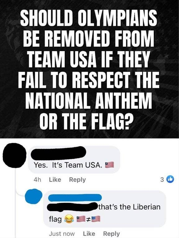 person mixing up the liberian flag and the usa flag