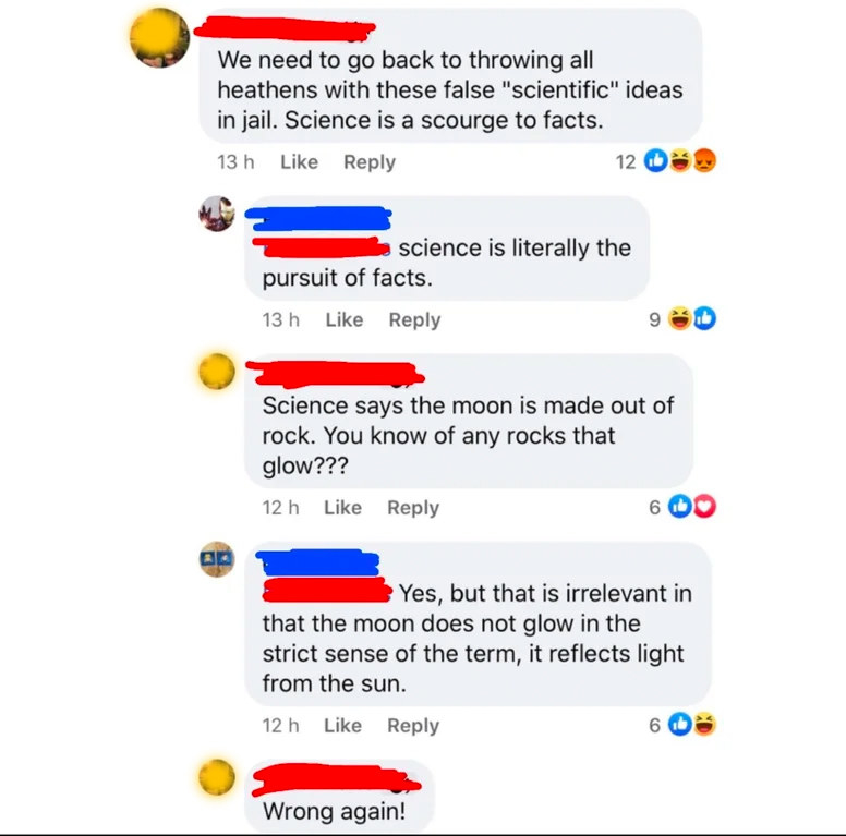 person who has no idea how science works