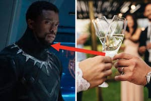 T'Challa looks at someone off screen while wearing the Black Panther suit and two hands toast slim champagne glasses