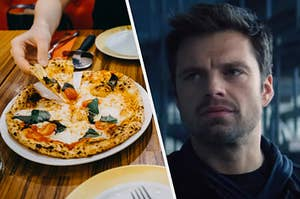 A hand starts to pull a slice of pizza from its pie and a close up of Bucky Barnes as he looks at someone off screen