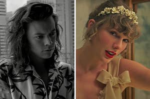 """On the left, Harry Styles in One Direction's """"Perfect"""" music video, and on the right, Taylor Swift in the """"Willow"""" music video"""